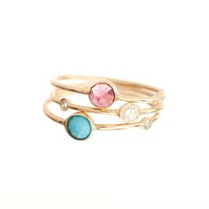 mini rose cut stacking rings with diamonds - choice of Peruvian Opal, Rhodolite Garnet, Turquoise, onyx, lapis lazuli, or chryoprase - by Ariel Gordon Jewelry