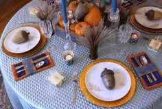 Teal Thanksgiving Table