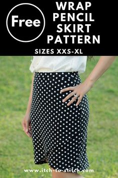 Lindy Petal Skirt Digital Sewing Pattern (PDF) - Itch To Stitch This easy DIY wrap pencil skirt would be perfect for a work outfit or a Holiday party. The high waisted knit skirt is ea. Skirt Pattern Free, Skirt Patterns Sewing, Sewing Patterns Free, Free Sewing, Free Pattern, Pattern Sewing, Simple Skirt Pattern, Womens Skirt Pattern, Skirt Sewing