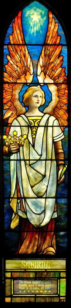 """This window is the for the angel of the church at Smyrna. Metaphysically, Smyrna represents substance. """"Be thou faithful until death, and I will give thee the crown of life."""" Rev. 2:10"""