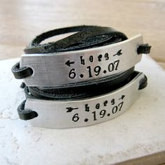 Hers and Hers Bracelets anniversary date Lesbian by riskybeads