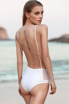 Solid Color Backless Spaghetti Straps One-Piece Swimwear