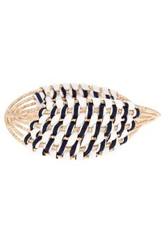 The Logan Twisted Sailor Bangle: Twisted gold laced with navy and white weaving makes this bangle nautical perfection.