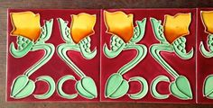 5 x original Jugendstil Fliese art nouveau tile