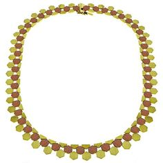 Mid Century 2 Tone Gold Necklace