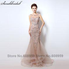 Luxury Rhinestone Mermaid Dubai Long Evening Dresses 2017 New Blush Crystal  Beading Pearl Sheer Prom Dress Robe De Soiree caeeae6685d9