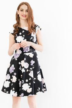 Floral cap-sleeved skater dress from Suzy Shier. 278660f5e