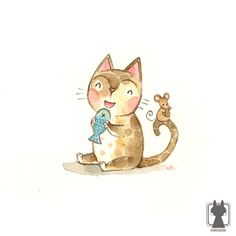 Digital print  cat art print  cat with fish small by Adelaida, $7.00