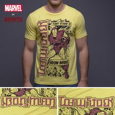 016443e41aa2 Iron Man / Tony Stark - Yellow Short Sleeve Men's Crew Neck T-Shirt (Retro)