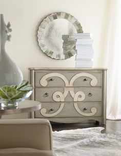 Classique Scroll Chest by Hooker Furniture. A bold artistic motif adorns the Classique Scroll Chest, and the three drawers are lined with pretty wallpaper. Available exclusively at Space Design Collective in India. www.spacedesigncollective.com