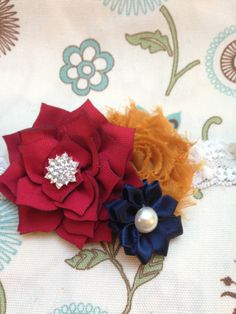 New to LaBellaRoseBoutique on Etsy: Navy mustard Headband Burgundy lotus mustard shabby flower navy satin on cream elastic lace baby toddler teen women wedding flower girl (12.50 USD)