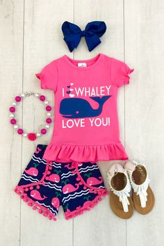 """I Whaley Love You"" Pom Pom Short Set"