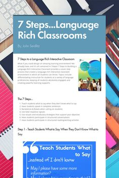 """Provides an overview of the Steps to a Language Rich Classroom"""" to assist in educating and incorporating ELLs into your classroom. Ell Strategies, Teaching Strategies, Teaching Tips, Speech Language Pathology, Speech And Language, Dual Language, Language Arts, Bilingual Classroom, English Language Learners"""