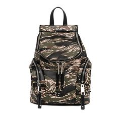 Camouflage faux leather backpack