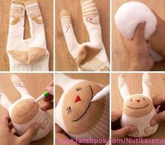 Tell me what to do with old socks! Sock Crafts, Fun Crafts, Sewing Crafts, Sewing Projects, Diy For Kids, Crafts For Kids, Diy Pour Enfants, Sock Dolls, Ideias Diy