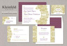 Purple  Gold Indian Wedding Stationary designed by Lauren DiColli Hooke for KleinfeldPaper.com