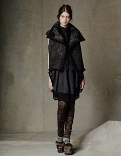 Byzantium Jacquard Vest/ Cotton Wool Circle Blouse/ Silk Smocking Dress/ Stretch Leather and Byzantium Legging