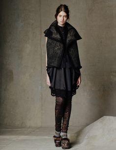 Byzantium Jacquard Vest/ Cotton Wool Circle Blouse/ Silk Smocking Dress/ Stretch Leather and Byzantium Legging