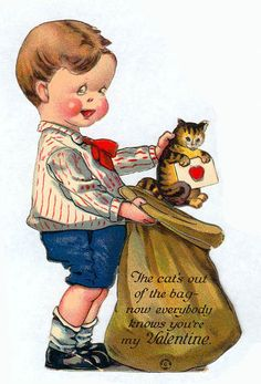 vintage everyday: Pussy Galore: A Collection of 28 Cute and Funny Vintage Kitty Cat Valentine's Day Cards Valentine Images, My Funny Valentine, Vintage Valentine Cards, Valentines For Boys, Cat Valentine, Vintage Greeting Cards, Vintage Holiday, Vintage Postcards, Vintage Images