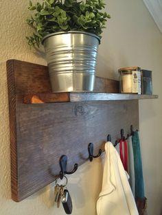 Rustic Hat & Coat Rack with Shelf - Modern Entry Way Wall Decor - School Backpack Hooks - Coat Organizer - Mail Holder - Apartment Decor