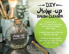 1) Fill your bowl with 1 1/2 cups of warm water, & 1/2 cup of the distilled white vinegar. 2) Add 10 drops each of Tea Tree Oil & Lavender Oil. 3) Swirl your brushes, lay them flat to dry over-night and wake up ready to make up! #EssentialOil #Makeup