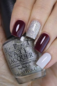 That gorgeous burgundy is Sally Hansen Miracle Gel in V-ampified. The silvery-gold glitter is OPI Super Star Status and the beautiful white (with a hint of grey) is I Cannoli Wear OPI.
