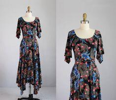 1970s black floral weeping willow handkerchief hem by secretlake, $78.00