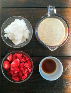 DIY Strawberry Sugar Scrub Recipe - This homemade sugar scrub is all natural, made by mixing 4 simple ingredients. It smells so good that you'll want to eat it!