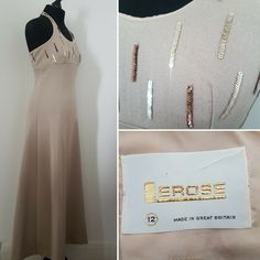 Label states a size This is a pre-loved item and as such may have minor pilling or marks. Champagne Cocktail, Champagne Color, Black Cocktail Dress, Wiggle Dress, Dress Suits, Retro Outfits, Halter Neck, Hippie Boho, Evening Gowns