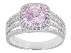Bella Luce (R) 5.12ctw Pink & White Diamond Simulant Rhodium Plated Silver Ring (2.48ctw Dew)