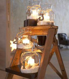 Advent. Use mason jares and tea lights epson salt