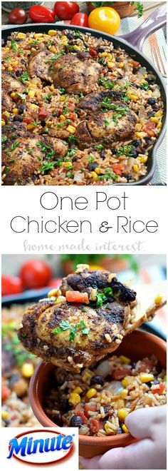 This easy one pot Mexican chicken and rice recipe is filled with tex-mex flavor and cooked with rice, corn, and black beans to make a complete meal in one pot! This chicken recipe is perfect for an easy family dinner. MealsWithMinute AD @minutericeUS