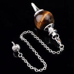 Natura tigre ojo de piedra péndulo adivinación radiestesia Chakra Healing Point grano de la bola Wicca pendiente de cadena
