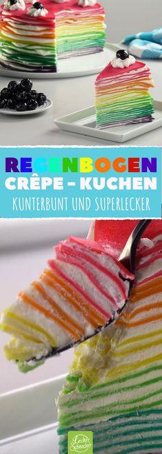 Dieser köstliche Kuchen strahlt in allen Farben des Regenbogens! #rezept #rezepte #kuchen #torte #crepe #pfannkuchen #schichten #creme #bunt