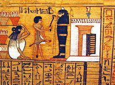 Fragmento del papiro del escriba Nebqed (dinastía XVIII) ilustrando el capítulo 125 del Libro de los Muertos, donde el difunto declara su inocencia. La momia de Nebqed se halla en posición vertical delante de la puerta de su capilla funeraria donde se puede ver en la fachada y por encima de la puerta dos hileras de conos funerarios (París, Musée du Louvre, N3068).
