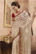 Exquisite Bick Red & Beige  Embroidered Saree -