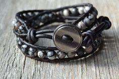 Bohemian bracelet Double wrap beaded leather by SinonaDesign, $42.00