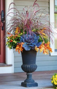 22 gorgeous fall planters for Thanksgiving fall decorations best fall flowers for pots great autumn planter ideas with mums pumpkins kale more - A Piece of Rainbow fall falldecor autumn outdoor backyard curbappeal diy homedecor homedecorideas diyhomedecor Autumn Garden, Easy Garden, Garden Pots, Garden Ideas, Backyard Ideas, Garden Trellis, Landscaping Ideas, Backyard Landscaping, Fall Flower Pots