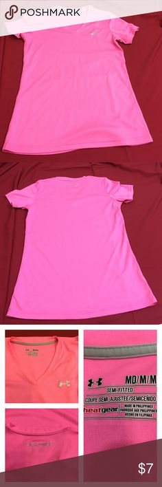 Under Armour Hot Pink heatgear S/S shirt Semi-fitted. 17.5 inches and 25.5 inches length. Small snag on the right side bust Under Armour Tops Tees - Short Sleeve