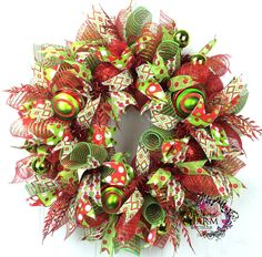 Deco Mesh Christmas Wreath -Lime Green -Red -Whimsical Door Wreath by www.southerncharmwreaths.com Christmas Mesh Wreaths, Christmas Deco, Fall Wreaths, Wreaths For Sale, How To Make Wreaths, Summer Wreath, 4th Of July Wreath, Wreath Crafts, Wreath Ideas