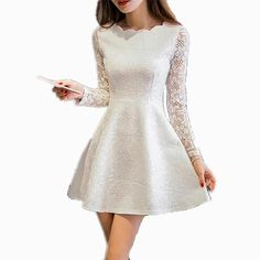 Spring Summer Autumn Women Lace Casual Dress Long Sleeve Korean Party Dresses Vestido White Black Pink Mini Dress Robe Dentelle $26.95 => Save up to 60% and Free Shipping => Order Now! #fashion #woman #shop #diy www.greatdress.ne...