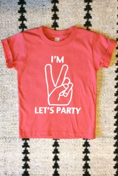 I'm two- Let's Party! second birthday shirt, peace sign second birthday shirt - everly b.