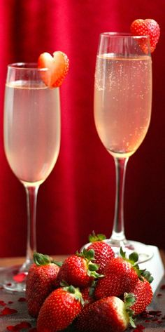 Champagne with heart strawberries - LadyLuxuryDesigns