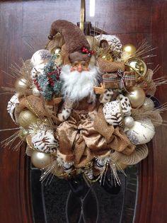 Neutral Santa Burlap and Mesh Wreath by HertasWreaths on Etsy, $175.00