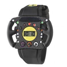Un reloj digital en forma de volante Ferrari pensado para los pequeños aficionados: un concentrado de energía que reproduce los sonidos de un motor de carrera.