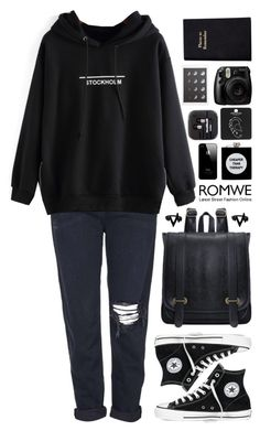 """Romwe 8"" by scarlett-morwenna ❤ liked on Polyvore featuring Topshop, Converse, ASOS and Leathersmith"