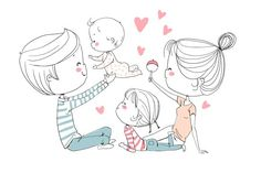 Find Happy Family Mother Father Children stock images in HD and millions of other royalty-free stock photos, illustrations and vectors in the Shutterstock collection. Family Drawing, Baby Drawing, Family Sketch, Cute Family, Happy Family, Family Guy, Family Illustration, Illustration Art, Couple Drawings