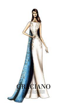 GRACIANO fashion illustration: Antonio Berardi A/W 2013 #LFW