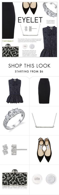 """""""Peek-A-Boo: Eyelet"""" by applesofgoldjewelry ❤ liked on Polyvore featuring Sea, New York, Jimmy Choo, Judith Leiber, Topshop and Apples of Gold"""
