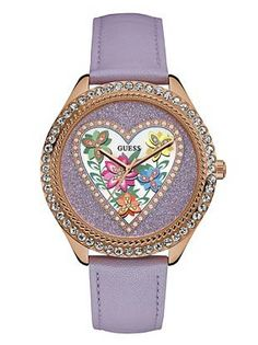 Purple and Rose Gold-Tone Flower Watch